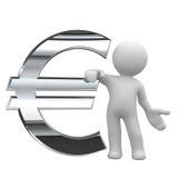 Símbolo euro del cromo Fotografía de archivo