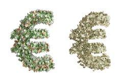 Símbolo euro del dinero Fotografía de archivo libre de regalías