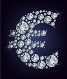 Símbolo euro en diamantes. Imagen de archivo