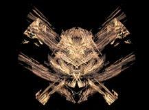 Símbolo excelente do crânio/piratas feito dos fractals Fotos de Stock