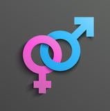Símbolo fêmea masculino Foto de Stock Royalty Free