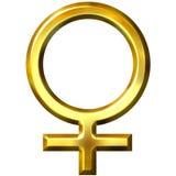 símbolo femenino de oro 3D Fotos de archivo libres de regalías