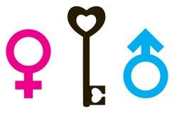 Símbolo femenino y masculino Foto de archivo libre de regalías