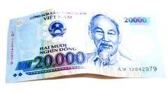 Símbolo financeiro de 20000 Dong Banknote imagem de stock royalty free