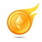 Símbolo flamejante da moeda do ethereum, ícone, sinal, emblema Illustr do vetor Fotografia de Stock