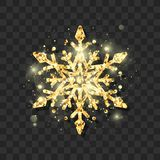 Símbolo floco de neve dourado elegante do brilho da véspera e do Natal de ano novo Teste padrão abstrato do floco de neve Ilustra fotografia de stock