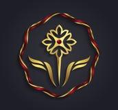 Símbolo formado flor del oro del gráfico de vector Fotografía de archivo