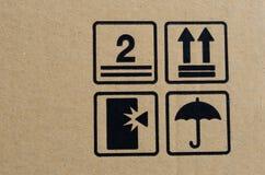 Símbolo frágil preto na caixa Fotografia de Stock