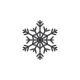 Símbolo frio, linha ícone do floco de neve, sinal do vetor do esboço, pi linear ilustração stock