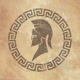 Símbolo gasto velho da reprodução no guerreiro espartano de papel no estilo do grunge ilustração royalty free
