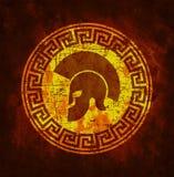 Símbolo gasto velho do guerreiro espartano no estilo do grunge ilustração royalty free
