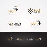 Símbolo geométrico de la tecnología del gráfico de vector en oro y gris Fotografía de archivo