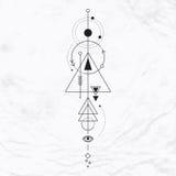 Símbolo geométrico moderno de la alquimia Imágenes de archivo libres de regalías