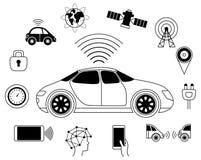 Símbolo gráfico do carro robótico Driverless, auto-conduzindo o automóvel Fotografia de Stock