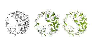 Símbolo gráfico Yin Yang do vetor Elemento do projeto com motivo floral ilustração royalty free