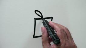 Símbolo humano do pacote do presente do desenho da mão com de tinta preta vídeos de arquivo