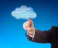 Símbolo incorporado de Person Touching Email In Cloud Imagens de Stock