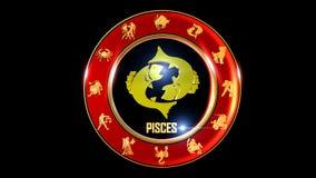 Símbolo indiano do zodíaco dos Peixes video estoque
