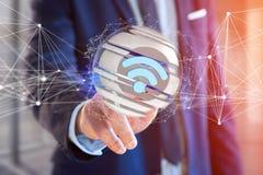 Símbolo indicado em uma esfera cortada - de Wifi rendição 3d Imagem de Stock Royalty Free