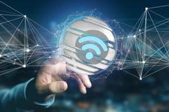 Símbolo indicado em uma esfera cortada - de Wifi rendição 3d Fotografia de Stock