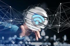 Símbolo indicado em uma esfera cortada - de Wifi rendição 3d Foto de Stock Royalty Free