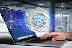 Símbolo indicado em uma esfera cortada - de Wifi rendição 3d Imagem de Stock