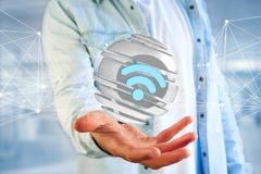 Símbolo indicado em uma esfera cortada - de Wifi rendição 3d Imagens de Stock Royalty Free