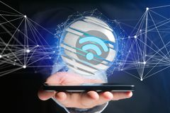Símbolo indicado em uma esfera cortada - de Wifi rendição 3d Foto de Stock
