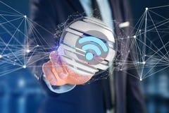 Símbolo indicado em uma esfera cortada - de Wifi rendição 3d Fotografia de Stock Royalty Free