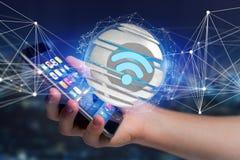 Símbolo indicado em uma esfera cortada - de Wifi rendição 3d Fotos de Stock Royalty Free