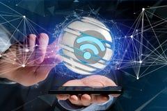 Símbolo indicado em uma esfera cortada - de Wifi rendição 3d Imagens de Stock