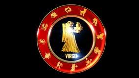 Símbolo indio del zodiaco del virgo almacen de metraje de vídeo