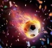 Símbolo inflamado de la bola del fútbol imagen de archivo libre de regalías