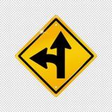 Símbolo internacional de la fractura de la curva de la izquierda - texturizó el icono amonestador amarillo - ejemplo del vector a libre illustration