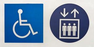Símbolo internacional del acceso y del símbolo del elevador fotografía de archivo libre de regalías