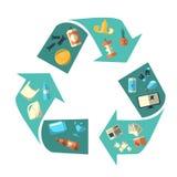 Símbolo isolado de classificação e de reciclagem Waste Imagem de Stock Royalty Free