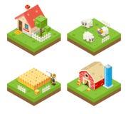 Símbolo isométrico de Real Estate del icono 3d de la vida de la granja ilustración del vector