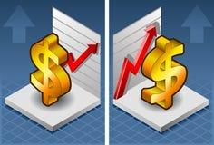 Símbolo isométrico do dólar Fotografia de Stock Royalty Free