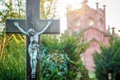 Símbolo Jesus Sculpture da religião da cristandade imagem de stock