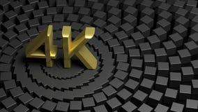 Símbolo 4K dourado Imagens de Stock