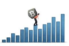 Símbolo levando do bitcoin do homem de negócios árabe foto de stock royalty free