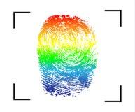 Símbolo LGBT de la igualdad del homosexual y lesbiana del arco iris de la huella dactilar Ejemplo para el diseño del gay-orgullo, ilustración del vector