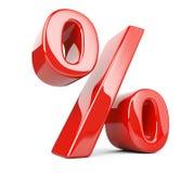 Símbolo lustroso vermelho dos por cento ilustração royalty free