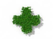 Símbolo médico con las malas hierbas de la marijuana Ilustración del Vector