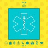Símbolo médico da emergência - estrela do ícone da vida Fotografia de Stock Royalty Free