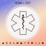 Símbolo médico da emergência - estrela do ícone da vida Imagens de Stock Royalty Free