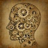 Símbolo médico de la máquina del grunge de la inteligencia del cerebro stock de ilustración