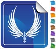 Símbolo médico del caduceo - botón Fotos de archivo libres de regalías