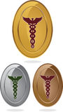 Símbolo médico del caduceo - conjunto de 3 óvalos Imagen de archivo libre de regalías
