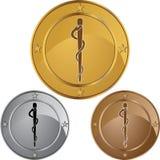Símbolo médico del caduceo - sola serpiente redonda Imágenes de archivo libres de regalías